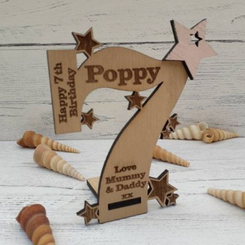 Personalised Seventh 7th Birthday Card Oak Wooden Keepsake Gift